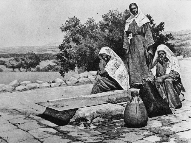 King David's Wells in Bethlehem, circa 1900. The well is associated with David, the second King of Israel as related in the bible. (Photo by Three Lions/Hulton Archive/Getty Images)
