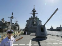 SAN DIEGO, United States - Photo shows the deck of the Japanese Maritime Self-Defense Force's Atago, a destroyer equipped with the Aegis missile interceptor system, at a U.S. Navy base in San Diego, California, on June 10, 2013. The vessel, in California to take part in a drill designed to practice recapturing control of remote islands, was shown to reporters. (Photo by Kyodo News via Getty Images)