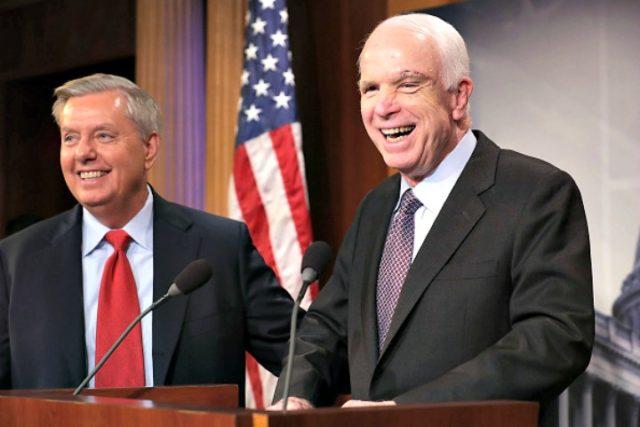 John McCain and Lindsey Graham Chip SomodevillaGetty Images