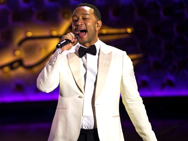 John Legend performs during the Sinatra 100 - An All-Star Grammy concert at the Wynn Las Vegas on Wednesday, Dec. 2, 2015. (Photo by Eric Jamison/Invision/AP)
