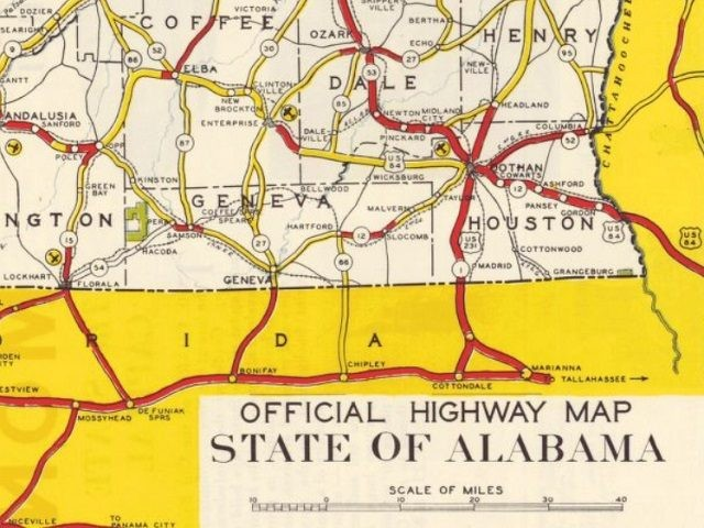 Alabama Highways, Official Highway Map, State of Alabama, 1936