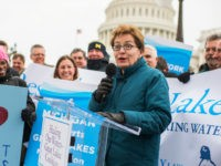UNITED STATES - MARCH 15: Rep. Marcy Kaptur, D-Ohio, speaks during a rally at the Senate swamp with advocates for Great Lakes programs to encourage Congress to keep up levels of federal funding for restoration projects, March 15, 2017. (Photo By Tom Williams/CQ Roll Call)