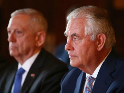 US Secretary of State Rex Tillerson (R) and US Secretary of Defence Jim Mattis (L) hold talks with Australian Foreign Minister Julie Bishop and Australian Defence Minister Marise Payne during a meeting at Government House in Sydney on June 5, 2017. Australia's foreign and defence ministers meet with their US …