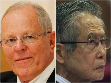 Peru's President Pedro Pablo Kuczynski and Peru's jailed, former President Alberto Fujimori