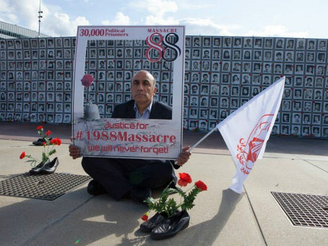 Mustafa Naderi, 1988 Iranian Massacre - Political Prisoner Survivor, Street exhibition by Iranian human rights activists highlighting the 1988 massacre of 30000 political prisoners in Iran in front of the United Nations headquarters in Geneva on September 15, 2017. The protesters demanded a UN inquiry into the 1988 massacres. (Photo by Siavosh Hosseini/NurPhoto via Getty Images)
