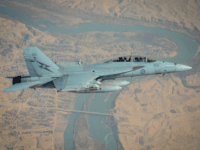 An RAAF F/A-18F Super Hornet manoeuvres over Rawah, Iraq, during an Operation OKRA sortie.