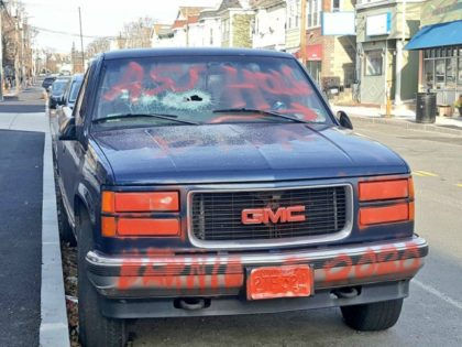 A vandal trashed a vehicle bearing pro-Trump messages in Somerville, Massachusetts.