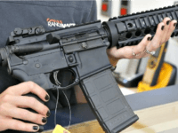 Woman Holds AR-15 Rifle