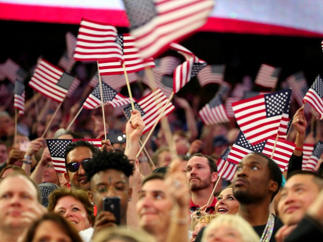 HOUSTON, TX - FEBRUARY 05: American flags wave during the Super Bowl LI Pregame Show at NRG Stadium on February 5, 2017 in Houston, Texas. (Photo by Christopher Polk/Getty Images)