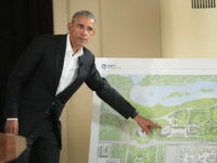 CHICAGO, IL - MAY 03: Former President Barack Obama points out features of the proposed Obama Presidential Center, which is scheduled to be built in nearby Jackson Park, during a gathering at the South Shore Cultural Center on May 3, 2017 in Chicago, Illinois. The Presidential Center design envisions three …