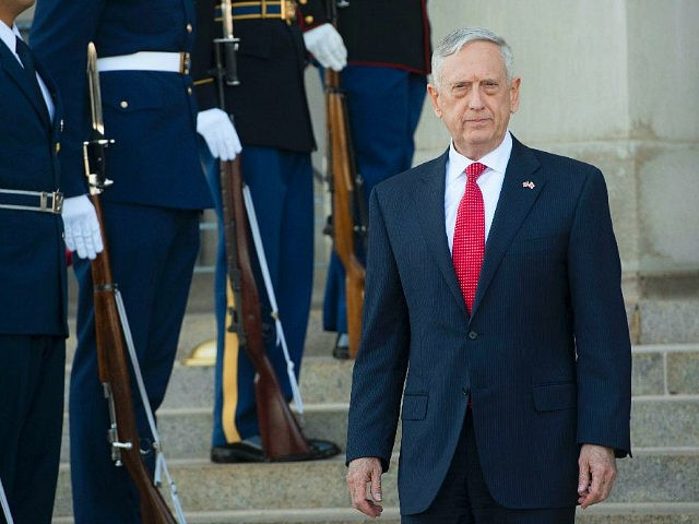 US Secretary of Defense Jim Mattis arrives to greet Georgian Minister of Defense Levan Izoria prior to meetings at the Pentagon in Washington, DC, November 13, 2017. / AFP PHOTO / SAUL LOEB (Photo credit should read SAUL LOEB/AFP/Getty Images)