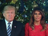 Donald and Melania Trump delivering a video message for Christmas 2017 from the White House.