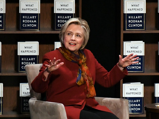 DENVER, CO - NOVEMBER 16: Hilary Clinton addresses the audience about her new book 'What Happened' on November 16, 2017 at Bellco Theatre at the Colorado Convention Center. (Photo by John Leyba/The Denver Post via Getty Images)