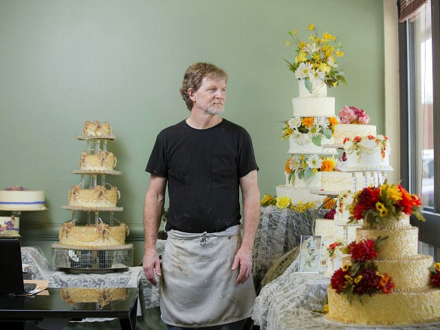 LAKEWOOD, CO - SEPT 1: Jack Phillips stands for a portrait near a display of wedding cakes in his Masterpiece Cakeshop in Lakewood, CO on Thursday, September 1, 2016. Jack Phillips is owner of Masterpiece Cakeshop in Lakewood, Colo., and has a case before the Supreme Court. He is one …