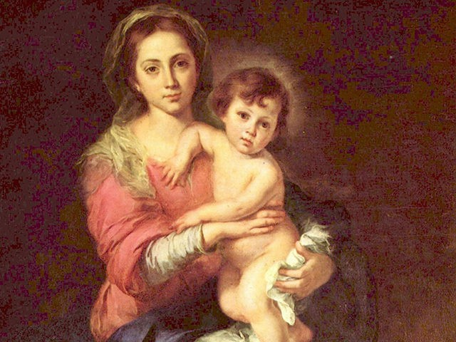"""Madonna and Child"" by Spanish painter Bartolomé Esteban Murillo, oil on canvas, circa between 1655 and 1660. This well-loved depiction of the Virgin Mary and Baby Jesus hangs in the Pitti Palace Gallery in Florence, Italy. (credit: Wikimedia Commons)"
