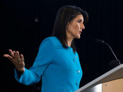 US Ambassador to the United Nations Nikki Haley unveils previously classified information intending to prove Iran violated UNSCR 2231 by providing the Houthi rebels in Yemen with arms during a press conference at Joint Base Anacostia in Washington, DC, on December 14, 2017. Haley said Thursday that a missile fired …