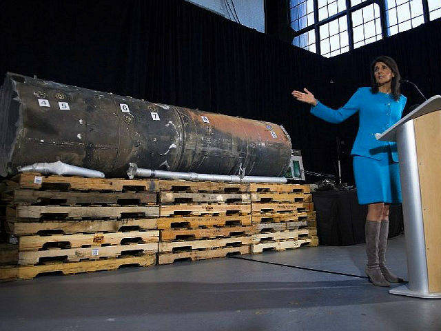 US Ambassador to the United Nations Nikki Haley unveils previously classified information intending to prove Iran violated UNSCR 2231 by providing the Houthi rebels in Yemen with arms during a press conference at Joint Base Anacostia in Washington, DC, on December 14, 2017. US ambassador to the United Nations Nikki …