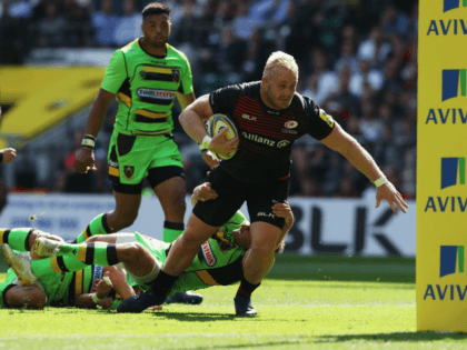 LONDON, ENGLAND - SEPTEMBER 02: Vincent Koch of Saracens lunges to score their seventh try during the Aviva Premiership match between Saracens and Northampton Saints at Twickenham Stadium on September 2, 2017 in London, England. (Photo by David Rogers/Getty Images)