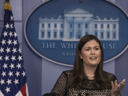 WASHINGTON, DC - SEPTEMBER 28: White House Press Secretary Sarah Huckabee Sanders speaks during the daily news briefing at the James Brady Press Briefing Room of the White House, September 28, 2017 in Washington, DC. (Photo by Drew Angerer/Getty Images)