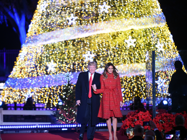 President Donald Trump and the first lady Melania Trump attend the 95th annual National Christmas Tree Lighting held by the National Park Service at the White House Ellipse in Washington, D.C., November 30, 2017. The Beach Boys, Wynonna, The Texas Tenors, Craig Campbell were among the artists who provided the entertainment. (Photo by Astrid Riecken/Getty Images)