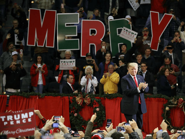 PENSACOLA, FL - DECEMBER 08: U.S. President Donald Trump walks on stage as he holds a rally at the Pensacola Bay Center on December 8, 2017 in Pensacola, Florida. Mr. Trump was expected to further endorse Alabama Republican Senatorial candidate Roy Moore who is running against Democratic challenger Doug Jones …