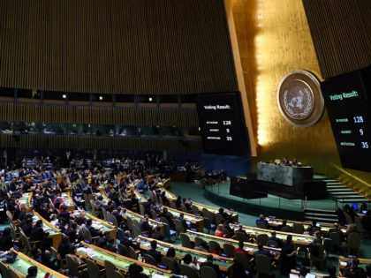 NEW YORK, USA - DECEMBER 21: The voting results are displayed on a screen during the emergency special session over Jerusalem held by UN General Assembly in New York, United States on December 21, 2017. Members has voted 128-9 to declare the United States' recognition of Jerusalem as Israel's capital …