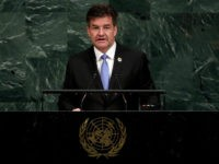 United Nations General Assembly President Miroslav Lajcak, of Slovakia, addresses the 72nd meeting of the United Nations General Assembly, at U.N. headquarters, Tuesday, Sept. 19, 2017. (AP Photo/Richard Drew)
