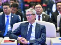 Apple chief Tim Cook at the internet conference in China, which was also attended by the head of Google, Sundar Pichai