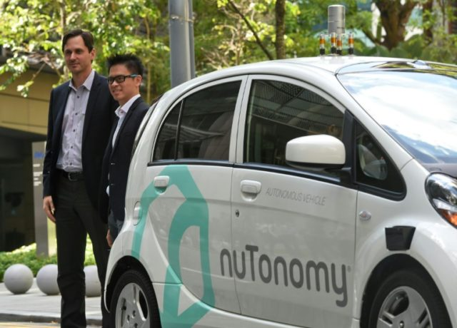 Autonomous cars developed by the US tech firm nuTonomy, such as one seen here in Singapore in 2016, will be hitting the streets of Boston as the ridesharing group Lyft deploys self-driving vehicles