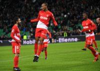 Monaco's Fabio Henrique Fabinho (2-L) celebrates after scoring a goal during their match against Saint-Etienne (ASSE) on December 15, 2017, at the Geoffroy Guichard stadium in Saint-Etienne, central-eastern France