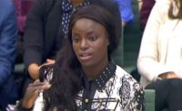 England women's football player Eni Aluko gives evidence to the Digital, Culture, Media and Sport select committee of MPs at the Houses of Parliament in London on October 18, 2017