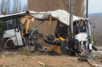 All of the dead and injured were on the bus, which was hit by a train in the southern French village of Millas, near Perpignan