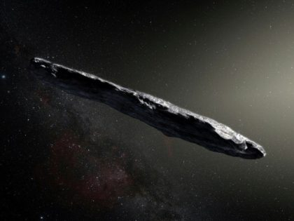An artist's impression of Oumuamua, the first interstellar asteroid, which has a coating that might be protecting a water-ice interior