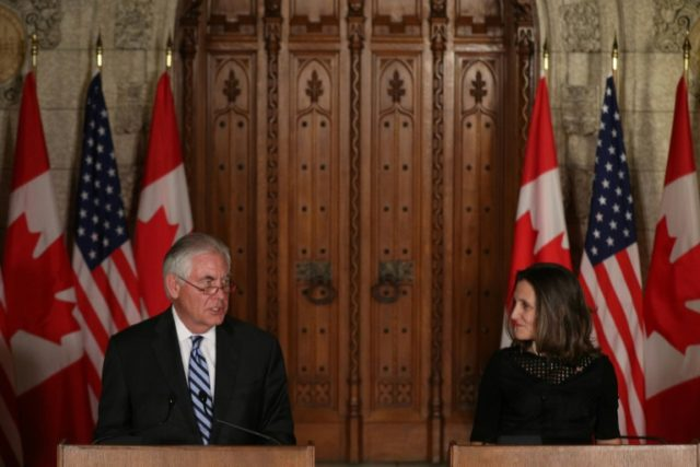 """We believe a diplomatic solution to the crisis is essential and possible,"" Canadian Foreign Minister Chrystia Freeland (left) told a joint press conference with visiting US Secretary of State Rex Tillerson (right)"