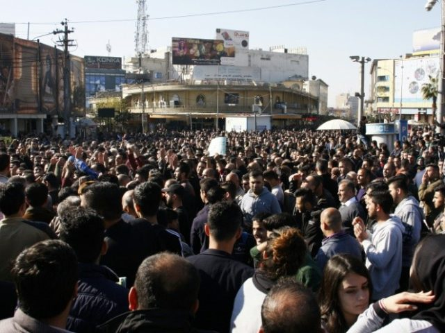 Kurdish demonstrators gather in the city of Sulaimaniyah on December 18, 2017, calling for the regional government to resign in the wake of a failed independence push