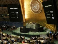 "The voting results are displayed on the floor of the United Nations General Assembly in which the United States declaration of Jerusalem as Israel's capital was declared ""null and void"" on December 21, 2017 in New York City"