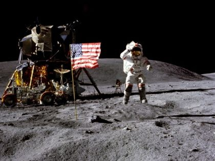 John Young salutes the U.S. flag at the Descartes landing site on the moon during the first Apollo 16 extravehicular activity. NASA says the astronaut, who walked on the moon and later commanded the first space shuttle flight, died on Friday, Jan. 5, 2018.