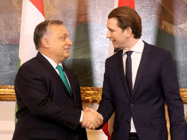 Austrian Chancellor Sebastian Kurz, right, welcomes Hungarian Prime Minister Viktor Orban, left, at the federal chancellery in Vienna, Austria, Tuesday, Jan. 30, 2018. (AP Photo/Ronald Zak)