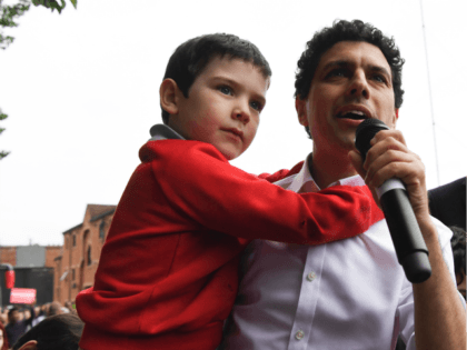 Labour party candidate for Leeds North West Alex Sobel (L), in Leeds, northern England, on May 15, 2017 as he campaigns for the general election. / AFP PHOTO / Paul ELLIS (Photo credit should read PAUL ELLIS/AFP/Getty Images)