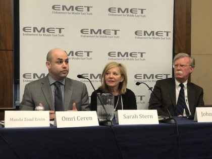 Manda Zand Ervin, Omri Ceren, Sarah Stern (Founder and President of EMET), and John Bolton at panel January 2018 Iran
