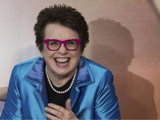 former tennis player Billie Jean King pose for photographers upon arrival at the premiere of the film 'Battle of the Sexes' during the London Film Festival in London, Saturday, Oct. 7, 2017. (Photo by Vianney Le Caer/Invision/AP)