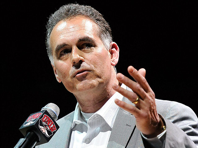 LAS VEGAS, NV - MARCH 01: Danny Tarkanian, son of former UNLV head basketball coach Jerry Tarkanian speaks at a tribute to his father at the Thomas & Mack Center on March 1, 2015 in Las Vegas, Nevada. Tarkanian, who led the UNLV Rebels for 19 seasons, taking the team …