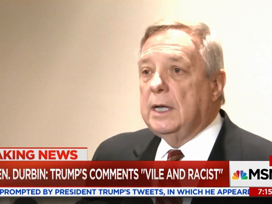 Politician Direct Durbin112 Durbin: Term 'Chain Migration' Painful to African-Americans Because They Migrated to U.S. in Chains Breitbart Politics  Shithole MSNBC immigration Donald Trump Dick Durbin Chain Migration Breitbart TV