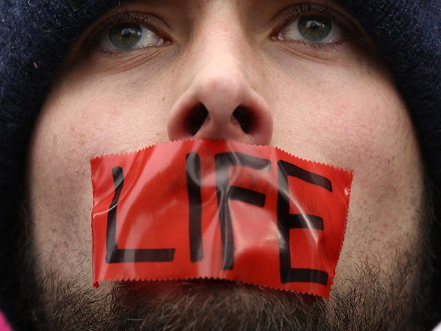 WASHINGTON, DC - JANUARY 27: An anti-abortion advocate rallies outside of the Supreme Court during the March for Life, January 27, 2017 in Washington, DC. This year marks the 44th anniversary of the landmark Roe v. Wade Supreme Court case, which established a woman's constitutional right to an abortion. (Photo …