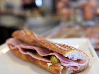 A picture taken on March 4, 2015 in Paris shows a ham sandwich on the zinc counter of a bar. The price of the 'Jambon-Beurre' sandwich (ham and butter), eaten a billion times in France in 2014, continued to rise but slower than others catering products, according to a price …