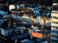 COTTBUS, GERMANY - MARCH 30: Newly built apartment complexes are pictured on March 30, 2015 in Cottbus, Germany. The ground around Cottbus was bought by Swedish owned energy company Vattenfall and is the main employer in the region. Cottbus, just kilometers away from the polish border, is one of the …