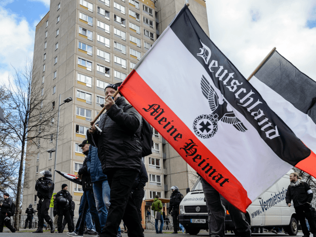 LEIPZIG, GERMANY - MARCH 18: Supporters of the far-right political party 'Die Rechte' gather to march in the city center on March 18, 2017 in Leipzig, Germany. The party is a 2012 offshoot from various other neo-Nazi parties and though 'Die Rechte' has members in most German states its