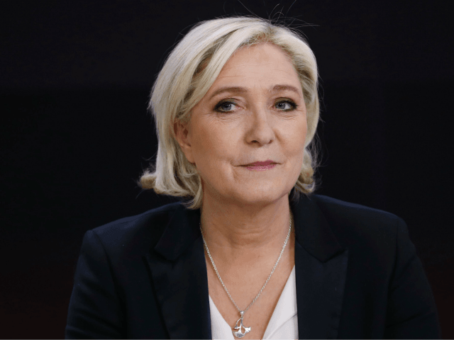 French presidential election candidate for the far-right Front National (FN) party Marine Le Pen waits before an interview on the set of the France 2 TV channel on April 24, 2017 in Paris. / AFP PHOTO / Patrick KOVARIK (Photo credit should read PATRICK KOVARIK/AFP/Getty Images)