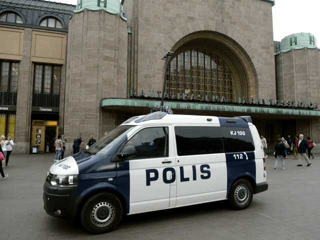 Finnish police patrols in front of the Cenral Railway Station in Helsinki on August 18, 2017. Finnish Police announced they will rise the readiness after stabbings in Turku. / AFP PHOTO / Lehtikuva / Linda Manner / Finland OUT (Photo credit should read LINDA MANNER/AFP/Getty Images)