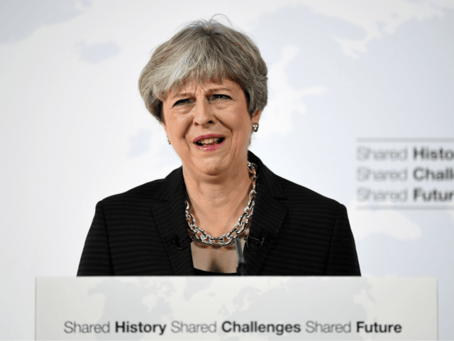 British Prime Minister Theresa May gives her landmark Brexit speech in Complesso Santa Maria Novella on September 22, 2017 in Florence, Italy.